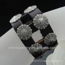 A correia e o parafuso prisionais NOVOS da venda da venda quente envolvem o bracelete BGL-004 do couro genuíno