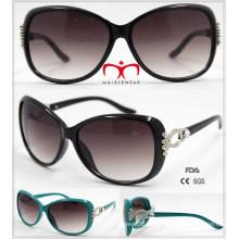 Neue Damen-Plastik-Sonnenbrille mit Metalldekoration (WSP601531)