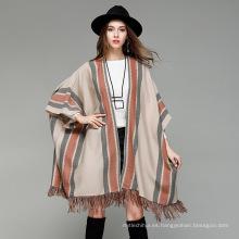 Nuevo poncho de estilo 2017 señoras de invierno cálido moda punto de rayas Poncho de acrílico