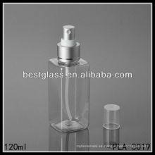 Los fabricantes de la botella plástica del ANIMAL DOMÉSTICO fino de la niebla del cuadrado cosmético reciclable 120ml fabricaron