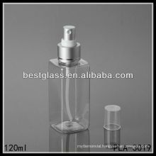 120ml recyclable cosmetic square shaped fine mist spray plastic PET bottle manufacturers