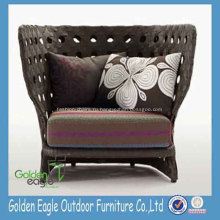 European Rustic Style Rattan High Back Sofa Chair
