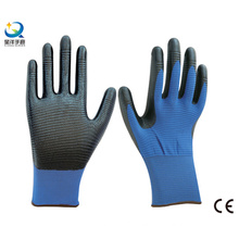 13G Polyester Zebra-Stripe Natrile Coated Glove Labor Protective Safety Work Gloves (N6041)