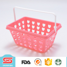mini rectangular portable fruit vegetable plastic basket with handle
