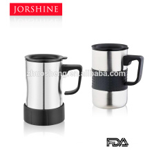 plastic handle stainless steel color coffee beer mug with lid KB020A-300