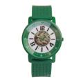 Montre-bracelet de cas d'alliage coloré, montre de courroie de silicone de Genève