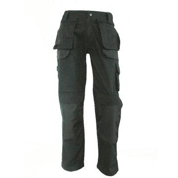 Calças cargo pretas duplas costuradas