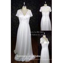 Plus Größenhochzeitskleid Chiffon- elegante Kappenhülsen Hochzeitskleid Rhinestone appliques