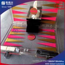 Caixa de quadro de xadrez de acrílico com dobradiça
