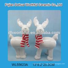 Atractiva estatuilla de cerámica blanca de renos para la Navidad de 2016