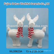 Attractive white ceramic reindeer figurine for 2016 christmas