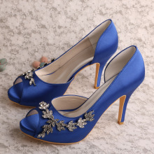 Blue Satin Trouwschoenen Open Teen Platform