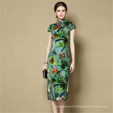 Luxury fashion summer elegant flora long chi-pao dress modern silk cheongsam qipao