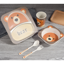 Ensemble de dîner écologique en bambou pour enfants, 5 pièces