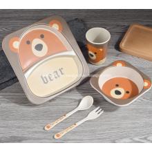 Eco-friendly 5 peças de bambu Kids Dinner Set