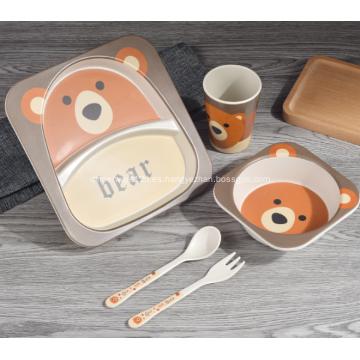 Juego de cena ecológico de bambú para niños de 5 piezas