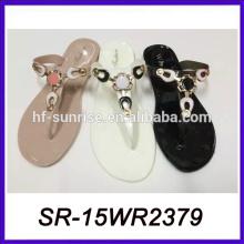 Frauen-PVC-Gelee-Damen flache Pantoffel Plastikhefterzufuhr-Art und Weisehefterzufuhr