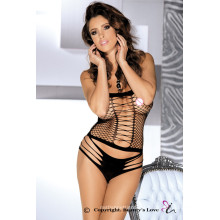 Beauty's Love Criss Cross Strapless Bodysuit Backless Checked Stretch Chemise & Panties Set New lingerie sexy porn