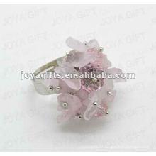 Enrole Anéis com Rosa Qurtz Chip pedra