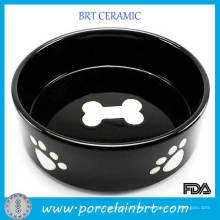 New Premium Black Bone Decal and Paw Print Bowl