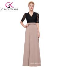 GK occidente de la mitad de las mujeres de manga empalme de empalme de alta Split vestido de moda larga CL009717-1