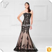 Sexy Negro Lace por encargo del diseñador piso longitud del hombro largo vestido de noche de desgaste sirena vestido de noche negro