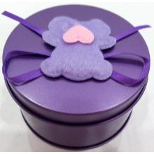 Purple Round Tin with Bear decoration
