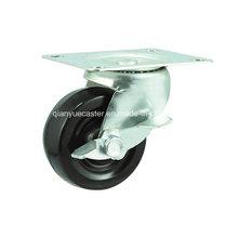 Rodas de roda giratória de borracha com borracha preta para mobiliário