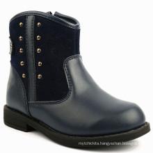 Kids Leather Zipper Design Blue Ankle Boots girls cute winter boots