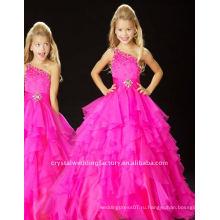 Горячая продажа одно плечо бисером раффлед fuschia органзы на заказ pageant платье девушки цветка платья CWFaf3388