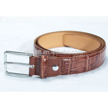 Man's 3.0cm Brown col imitation crocodile PU belt