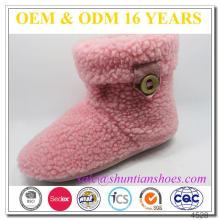 Fuzzy Alinhado Velcro Snow Boots Para Mulheres
