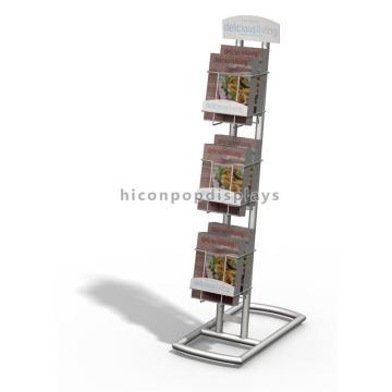 Schreibwarengeschäft Supermarkt-Befestigung Freistehende Metall 3-Schicht-Broschüre oder Koch-Buch-Anzeigen-Halter
