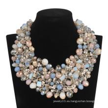 Gran lujo lleno de cuentas de vidrio en collar colorido (XJW13605)