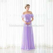 Latest Fashion Light Purple Girl Maxi Off-shoulder Dress Lady Party Wear Wholesale Evening Dress