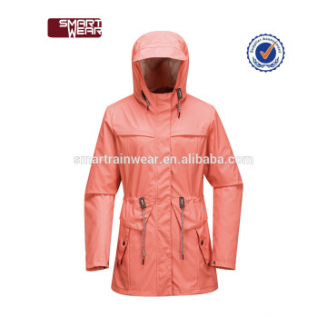 Waterproof pu clear rain jacket with printed design wholesale