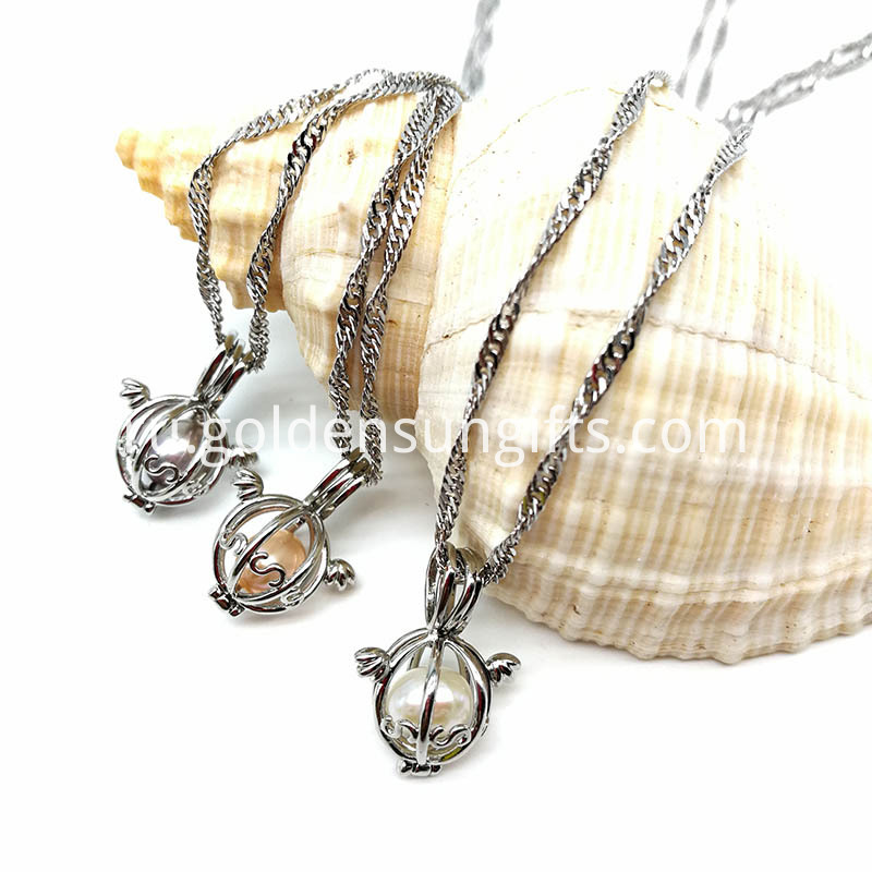Water Wave Chain Necklace with Pearl Cage Pendant