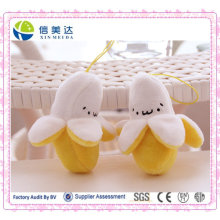 Plush pelado banana chaveiro / brinquedo pingente de frutas de pelúcia