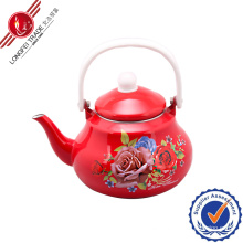 Red Enamel Teapot with Bakelite Handle
