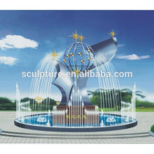 Large outdoor stainless steel fountain sculpture