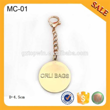 MC01 Custom zinc alloy metal hang tag for lady bag decoration