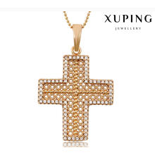 32703 Fashion Charm Cubic Zirconia Cross Imitation Jewelry Chain Pendant in Alloy Copper