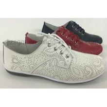 Confortável moda plana genuína Brogue sapatos casuais para as mulheres