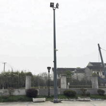 Hot dip galvanized steel high mast flood lighting pole with raising and lowering device