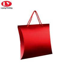 Pembungkusan kotak bantal merah berkilat untuk pembungkusan hadiah