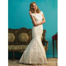 Elegante manga de manga de sirena vestido de novia de encaje de encaje