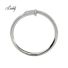 Europe Fashion Style 18K Gold Plated Nail Bangle with Finest Crystal