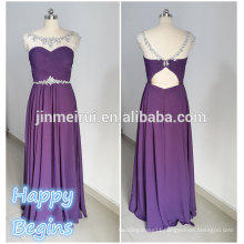 Free Shipping Real Photo See-Through Tulle Chiffon Jewel Neckline Long Bead Evening Dress 2014