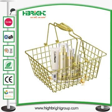 Supermercado Tiendas de cosméticos Cesta de compras de oro del alambre