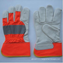 Hi-Vis Cow Grain Leather Full Palm Glove-3131. Rd